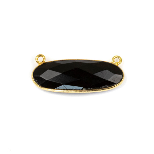 Onyx 11x30mm Faceted Oval Pendant Drop with with a Gold Plated Brass Bezel and Loops - 1 per bag