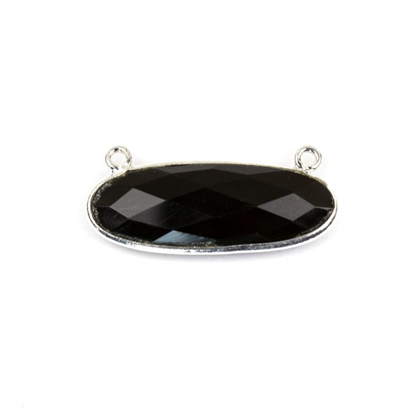 Onyx 11x30mm Faceted Oval Pendant Drop with with a Silver Plated Brass Bezel and Loops - 1 per bag