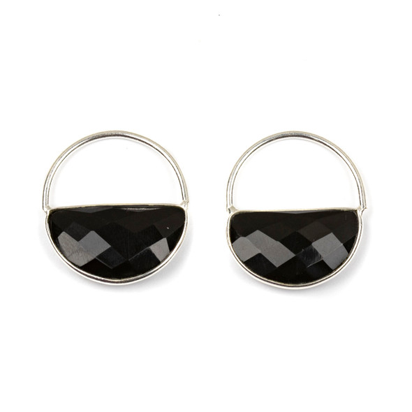 Onyx 25x28mm Semi Circle Component with a Silver Plated Bezel and Hoop - 2 per bag