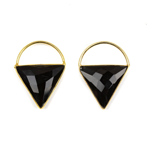 Onyx 24x33mm Triangle Component with a Gold Plated Bezel and Hoop - 2 per bag