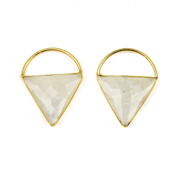 Moonstone 24x33mm Triangle Component with a Gold Plated Bezel and Hoop - 2 per bag