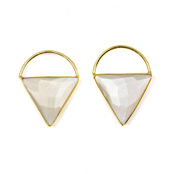 Grey Moonstone 24x33mm Triangle Component with a Gold Plated Bezel and Hoop - 2 per bag