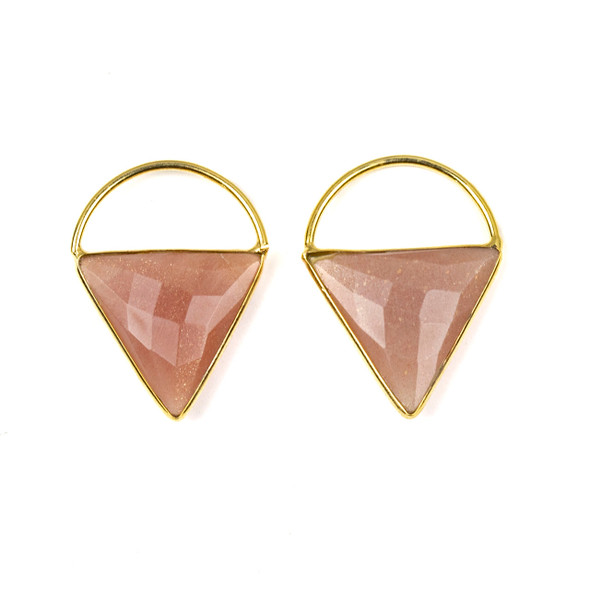 Peach Moonstone 24x33mm Triangle Component with a Gold Plated Bezel and Hoop - 2 per bag