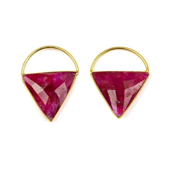 Ruby 24x33mm Triangle Component with a Gold Plated Bezel and Hoop - 2 per bag