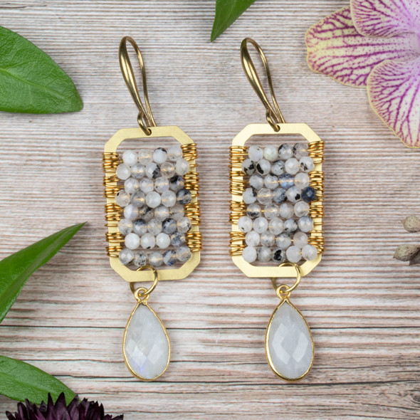 Wire Wrapped Moonstone and Brass Earring Kit - #012wht