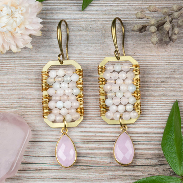 Wire Wrapped Morganite and Brass Earring Kit - #012pnk