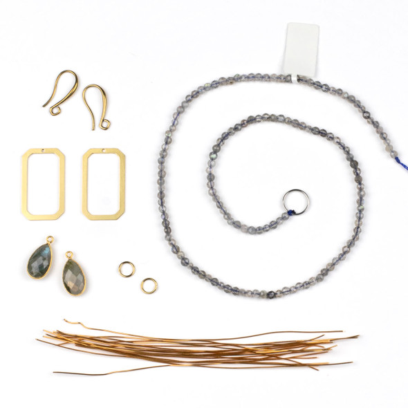 Wire Wrapped Labradorite and Brass Earring Kit - #012gry