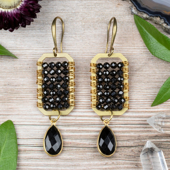 Wire Wrapped Spinel and Brass Earring Kit - #012blk