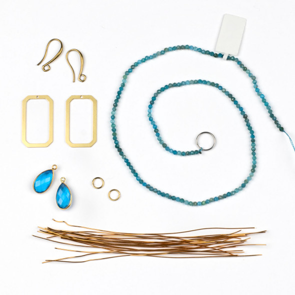 Wire Wrapped Apatite and Brass Earring Kit - #012blu