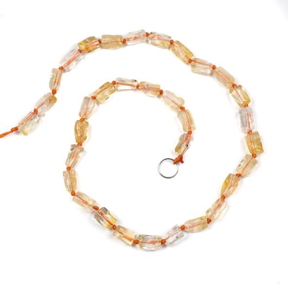 Citrine 6x12mm Irregular Tube Beads - 16 inch knotted strand