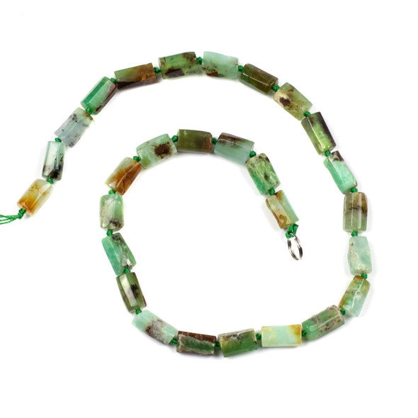 Chrysoprase 6x12mm Irregular Tube Beads - 16 inch knotted strand