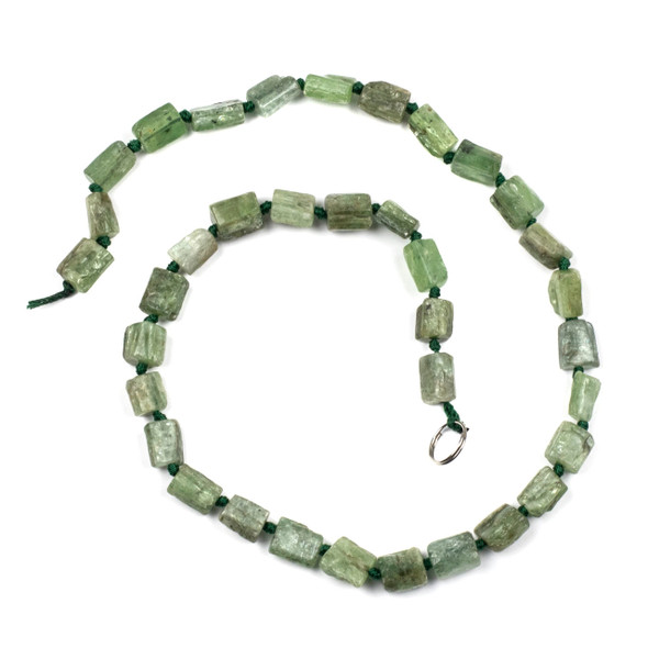 Green Kyanite 7x9mm Irregular Tube Beads - 16 inch knotted strand
