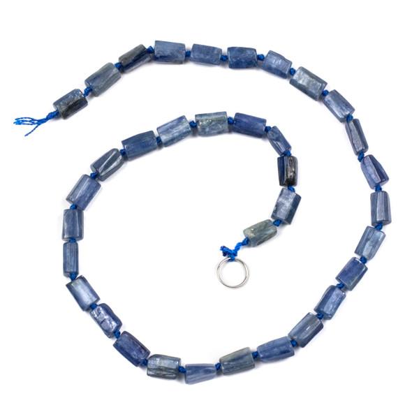 Kyanite 6x10mm Irregular Tube Beads - 16 inch knotted strand