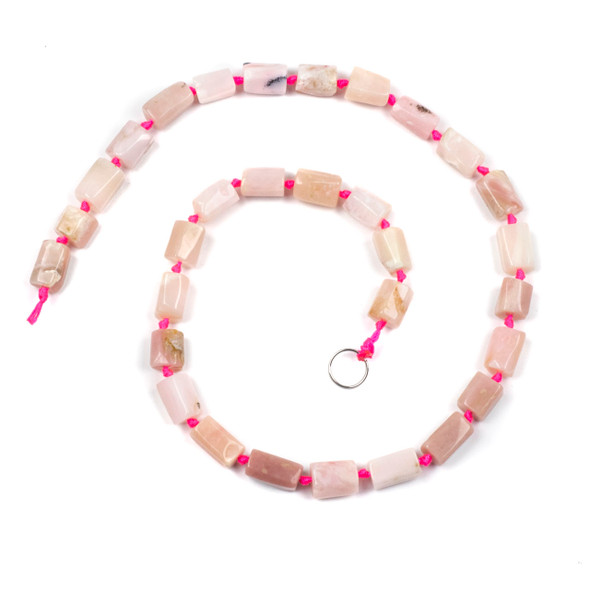 Pink Opal 6x12mm Irregular Tube Beads - 16 inch knotted strand