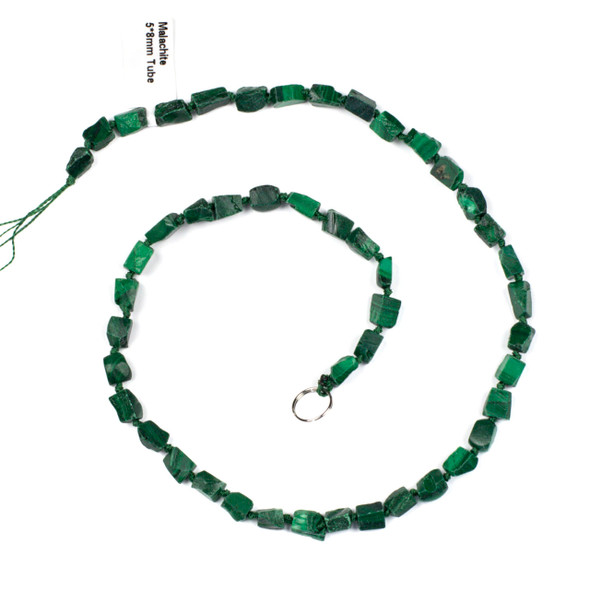 Malachite 5x8mm Irregular Square Tube Beads - 16 inch knotted strand