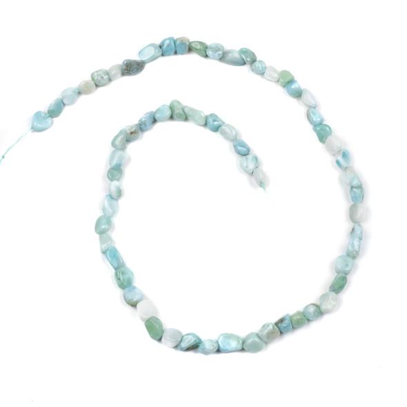 "Larimar Grade ""A"" 4-6mm Chip/Pebble Beads - 15 inch strand"