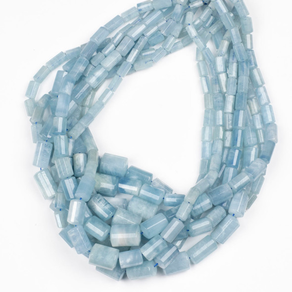 Aquamarine 4x8-14x20mm Faceted Graduated Tube Beads - 18 inch strand