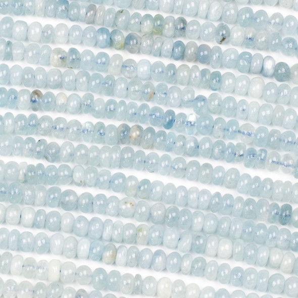 Aquamarine 3-4x6mm Irregular Rondelle Beads - 16 inch strand