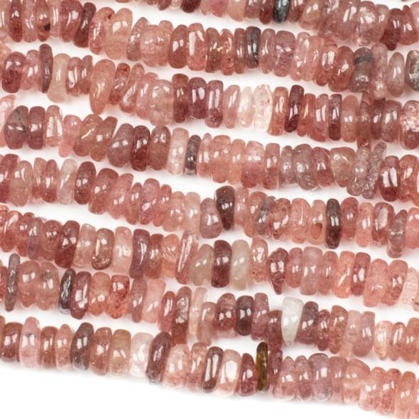 Strawberry Quartz 2-4x9-10mm Irregular Rondelle Beads - 16 inch strand