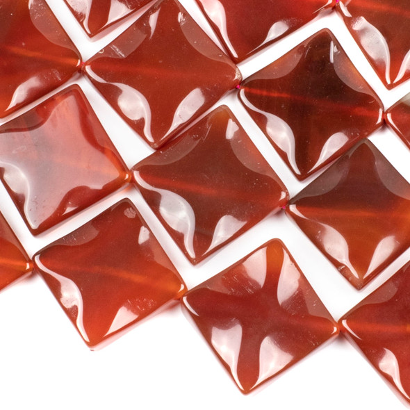 Carnelian 35mm Diagonally Drilled Wavy Square Beads - 16 inch strand
