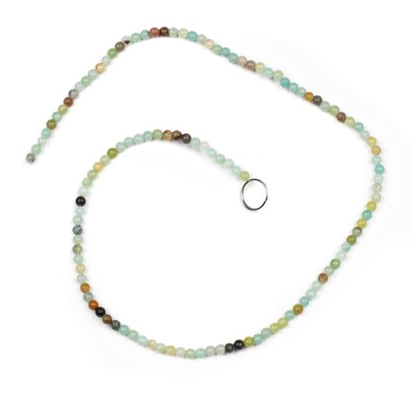 Multicolor Amazonite 3mm Round Beads - 15 inch strand