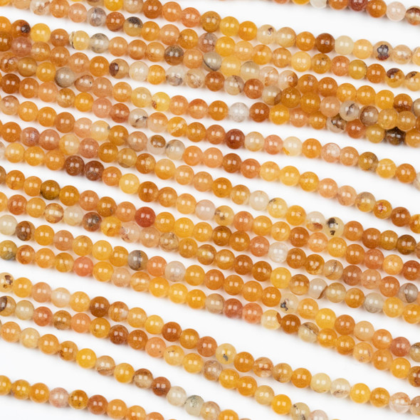 Orange Jade 3mm Round Beads - 15 inch strand