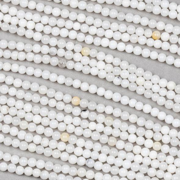 White Jade 3mm Round Beads - 15 inch strand