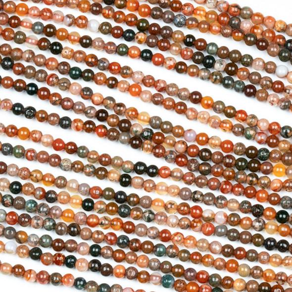 Brecciated Jasper 3mm Round Beads - 15 inch strand