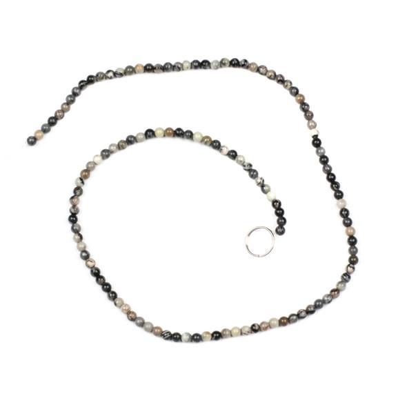 Black Silk Stone 3mm Round Beads - 15 inch strand