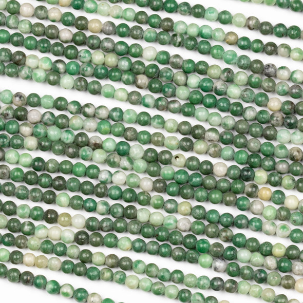 Multicolor Emerald 3mm Round Beads - 15 inch strand