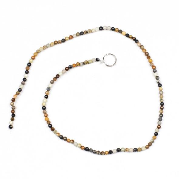 Picasso Jasper 3mm Round Beads - 15 inch strand