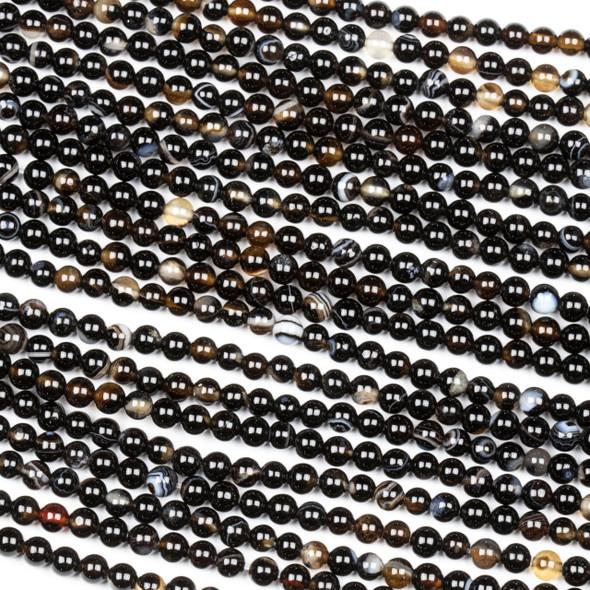 Sardonyx 3mm Round Beads - 15 inch strand