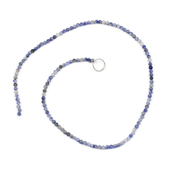 Blue Spot Jasper 3mm Round Beads - 15 inch strand