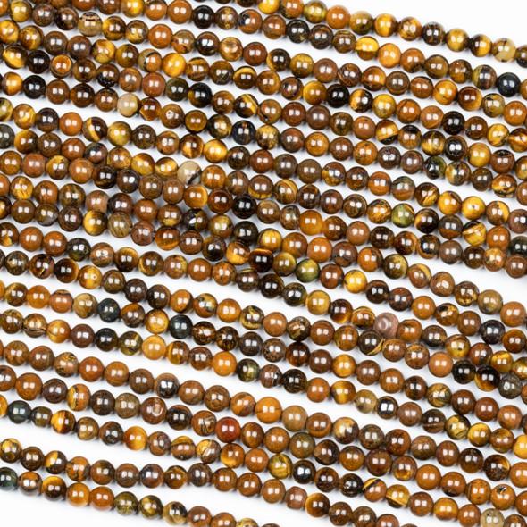 Yellow Tigereye 3mm Round Beads - 15 inch strand