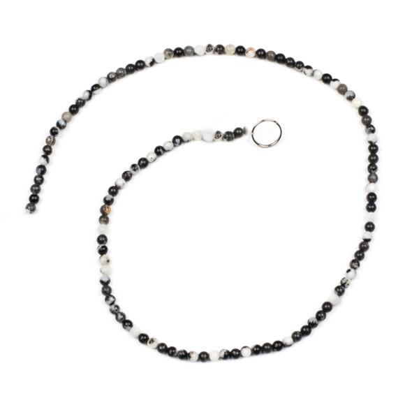 Black and White Zebra Jasper 3mm Round Beads - 15 inch strand
