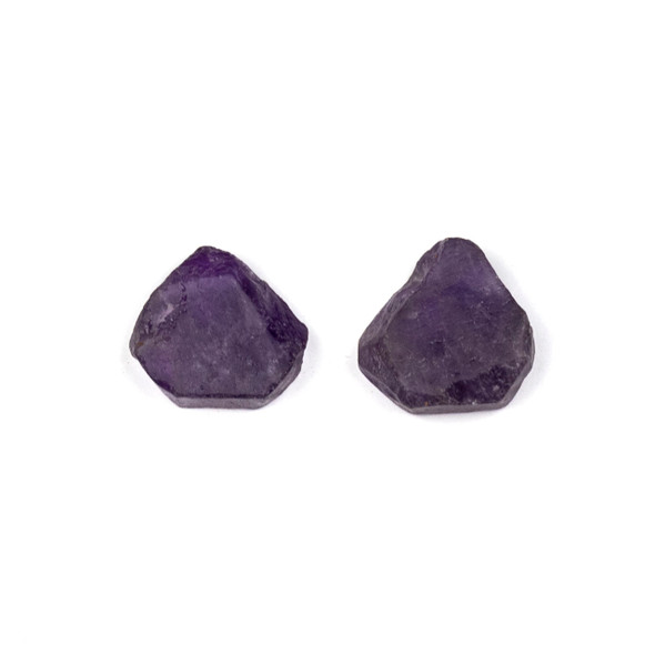 Amethyst approximately 13x14mm Rough/Not Polished Top Drilled Teardrop Pendants - 1 pair/2 pieces per bag