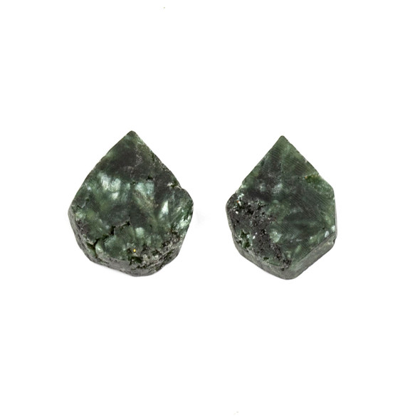Green Charoite approximately 13x14mm Rough/Not Polished Top Drilled Teardrop Pendants - 1 pair/2 pieces per bag