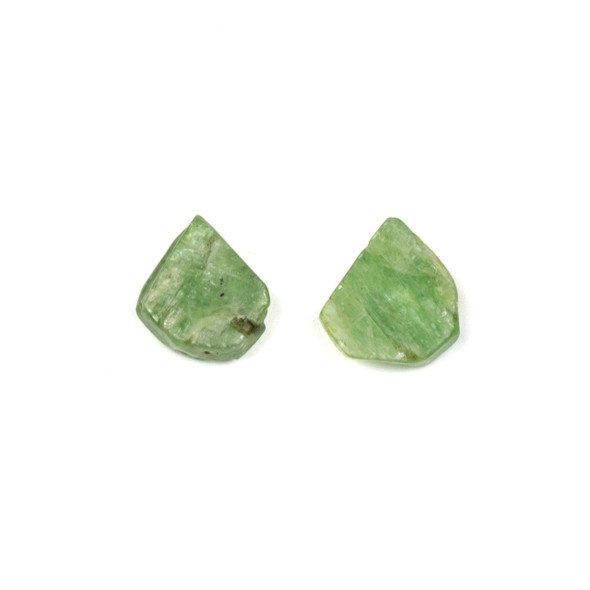 Green Kyanite approximately 10x13mm Rough/Not Polished Top Drilled Teardrop Pendants - 1 pair/2 pieces per bag