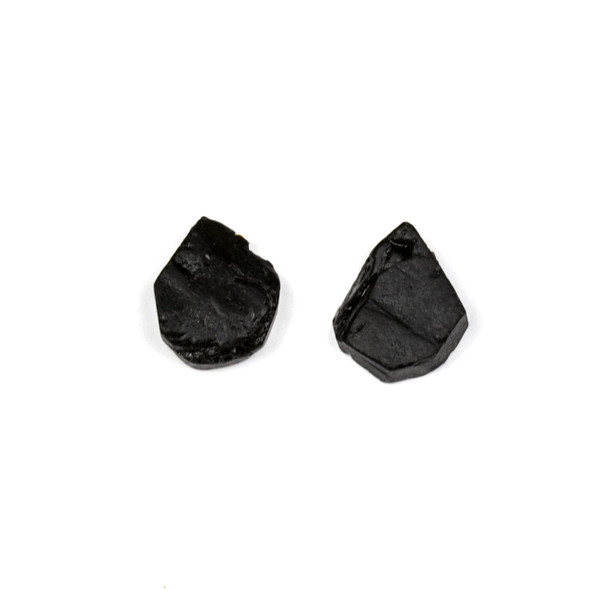 Black Tourmaline approximately 12x13mm Rough/Not Polished Top Drilled Teardrop Pendants - 1 pair/2 pieces per bag