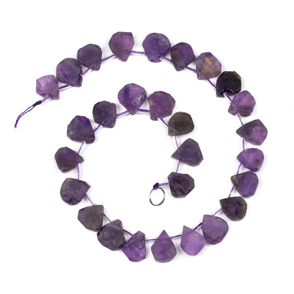 Amethyst approximately 14x20mm Rough/Not Polished Top Drilled Teardrop Beads - 15 inch strand