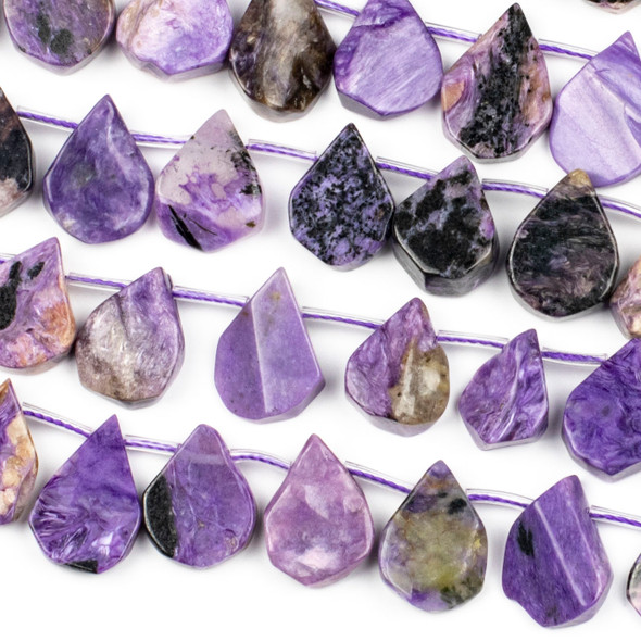 Charoite approximately 14x20mm Rough-Cut Polished Top Drilled Teardrop Beads - 15 inch strand