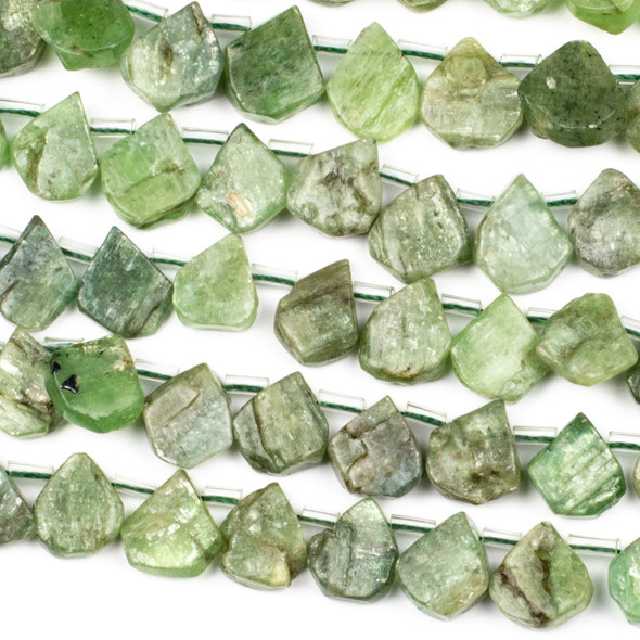 Green Kyanite approximately 11x15mm Rough/Not Polished Top Drilled Teardrop Beads - 15 inch strand