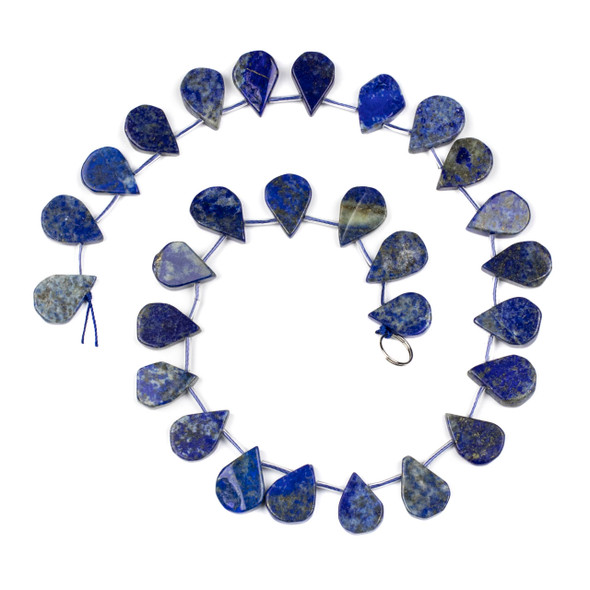Lapis approximately 14x20mm Rough-Cut Polished Top Drilled Teardrop Beads - 15 inch strand