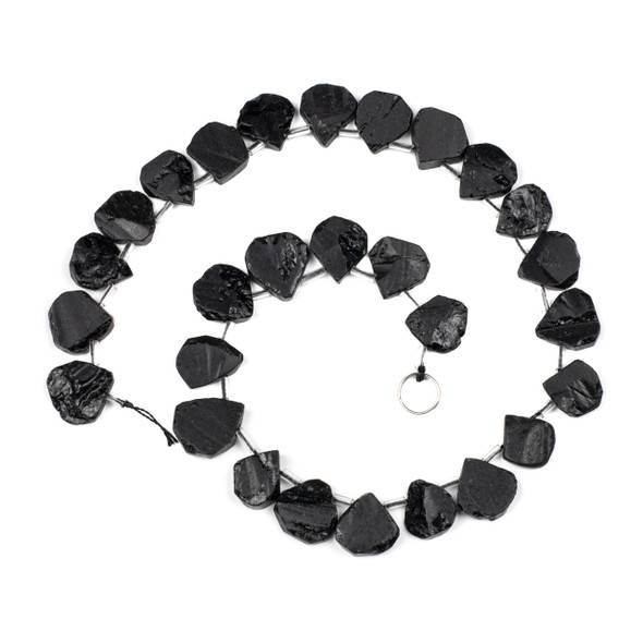 Black Tourmaline approximately 14x20mm Rough/Not Polished Top Drilled Teardrop Beads - 15 inch strand