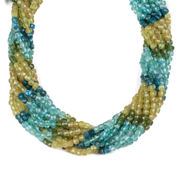 Multicolor Apatite 4mm Faceted Cube Beads - 15 inch strand