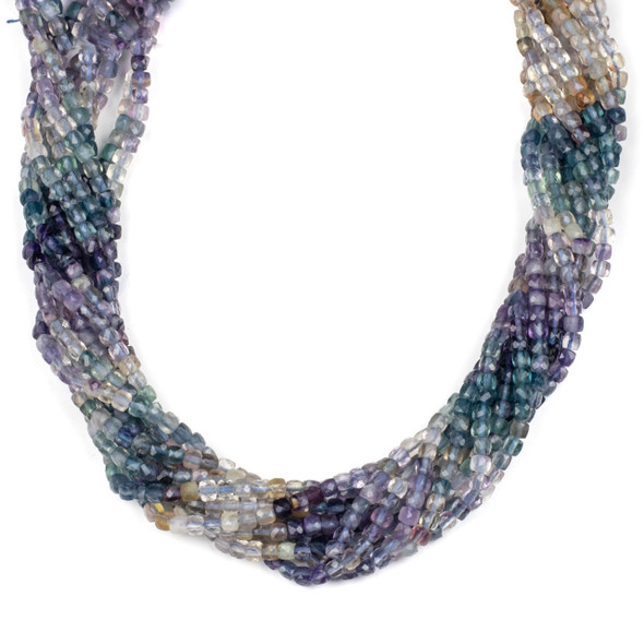 Multicolor Fluorite 4mm Faceted Cube Beads - 15 inch strand