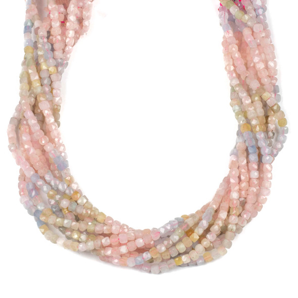 Multicolor Morganite 4mm Faceted Cube Beads - 15 inch strand