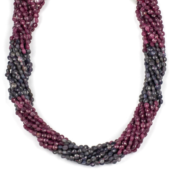 Multicolor Ruby and Sapphire 4mm Faceted Cube Beads - 15 inch strand