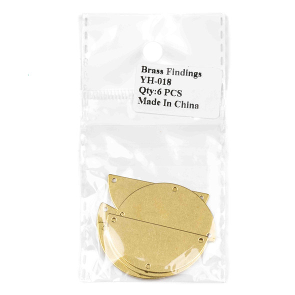 Raw Brass 18x38mm Half Moon Link Components with 3 Holes - 6 per bag - YH-018b