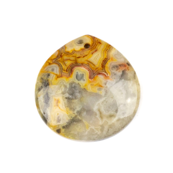 Crazy Lace Agate 40mm Top Front to Back Drilled Almond Pendant with a Flat Back - 1 per bag